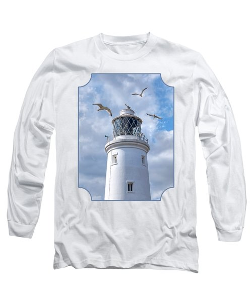 Fly Past - Seagulls Round Southwold Lighthouse Long Sleeve T-Shirt by Gill Billington