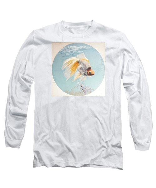 Flying In The Clouds Of Goldfish Long Sleeve T-Shirt by Chen Baoyi