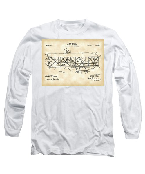 Flying Machine Patent 1903 - Vintage Long Sleeve T-Shirt by Stephen Younts