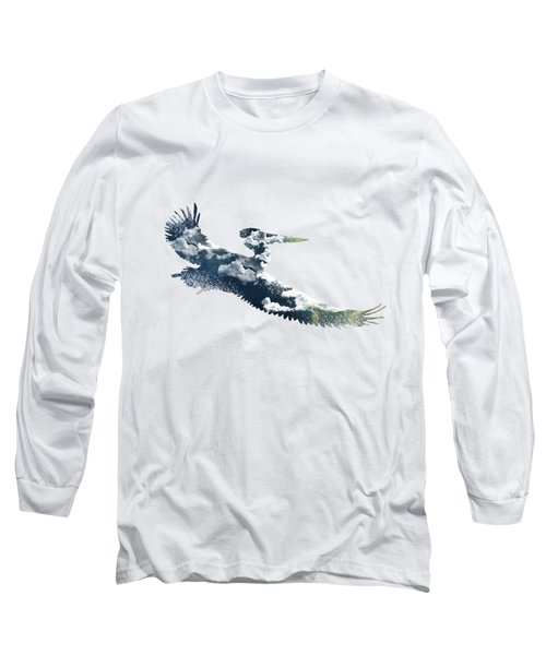 Flying Pelican Long Sleeve T-Shirt by Diana Van