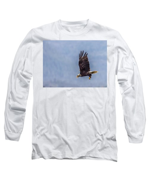 Long Sleeve T-Shirt featuring the photograph Flying With His Mouth Full.  by Timothy Latta