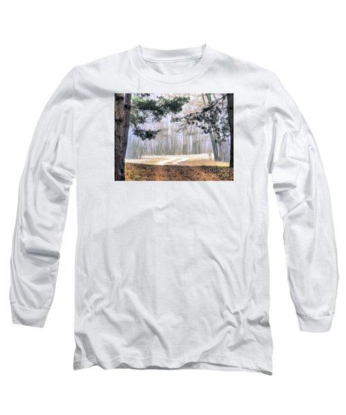 Foggy Autumn Landscape Long Sleeve T-Shirt by Odon Czintos