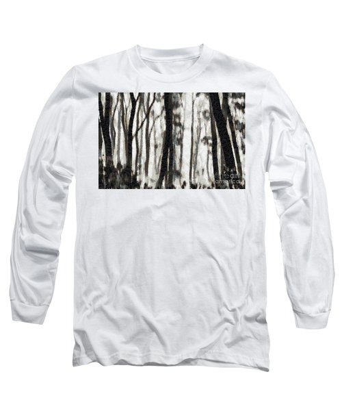 Foggy Forest Tree Paint Long Sleeve T-Shirt