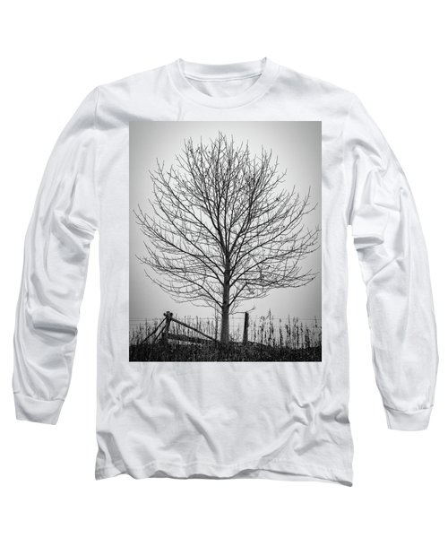 Foggy Lone Tree Hill Fine Art Long Sleeve T-Shirt