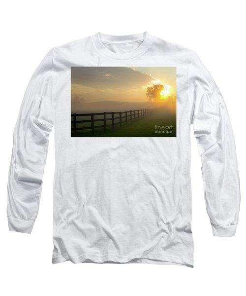 Foggy Pasture Sunrise Long Sleeve T-Shirt