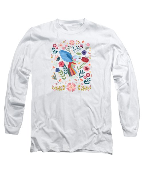 Folk Art Inspired Hummingbird In A Burst Of Springtime Blossoms Long Sleeve T-Shirt