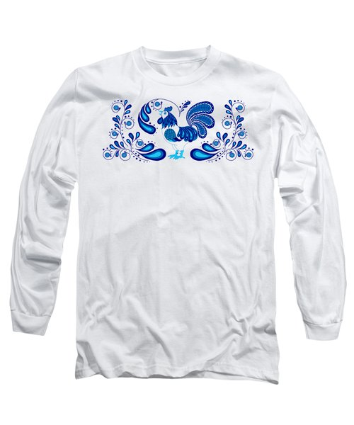 Folk Art Rooster In Blue Long Sleeve T-Shirt by Ruanna Sion Shadd a'Dann'l Yoder