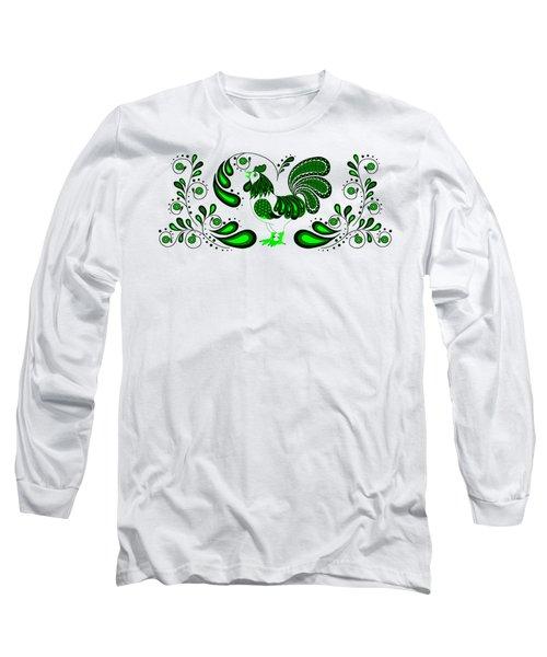 Folk Art Rooster In Green Long Sleeve T-Shirt by Ruanna Sion Shadd a'Dann'l Yoder