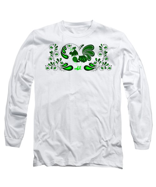 Folk Art Rooster In Green Long Sleeve T-Shirt