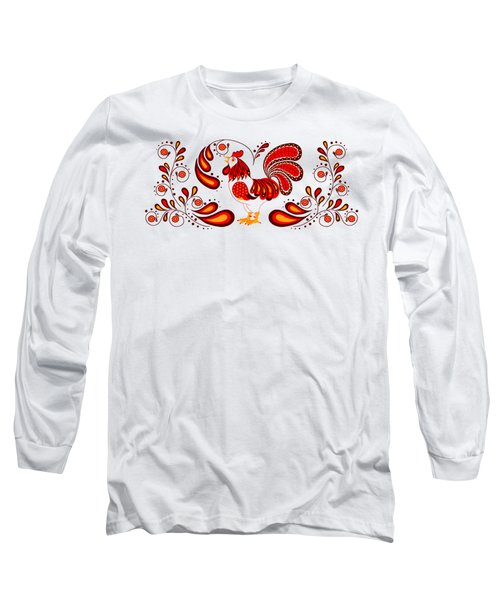Folk Art Rooster In Red Long Sleeve T-Shirt by Ruanna Sion Shadd a'Dann'l Yoder