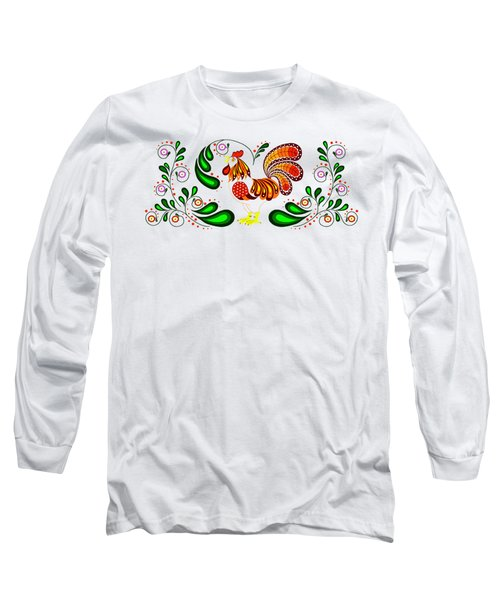 Folk Art Rooster Multi Color Long Sleeve T-Shirt
