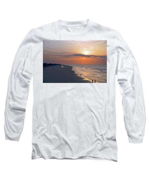 Folly Beach Sunrise Long Sleeve T-Shirt by Meta Gatschenberger