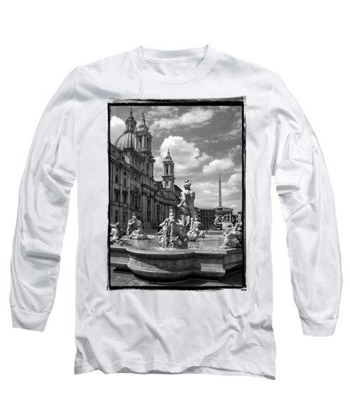 Fontana Del Moro.rome.italy Long Sleeve T-Shirt by Jennie Breeze