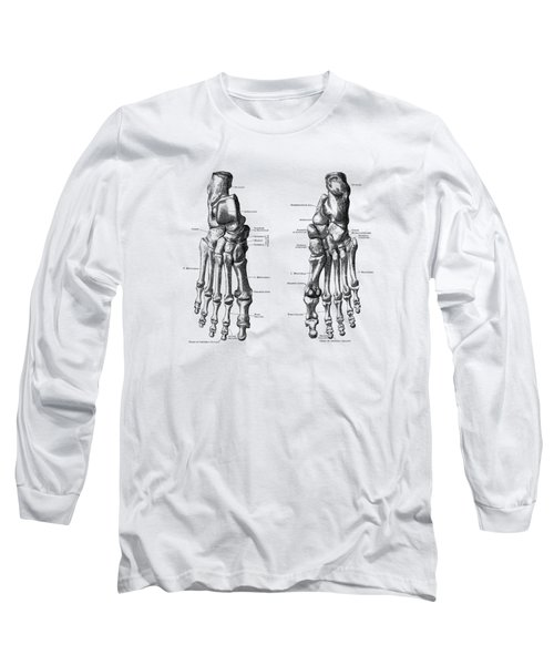 Foot And Ankle Skeletal Diagram - Anatomy Poster Long Sleeve T-Shirt