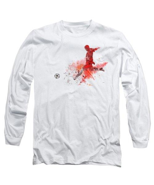 Football Player Long Sleeve T-Shirt by Marlene Watson