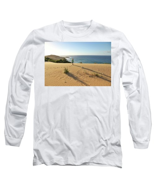 Footprints In The Sand Dunes Long Sleeve T-Shirt