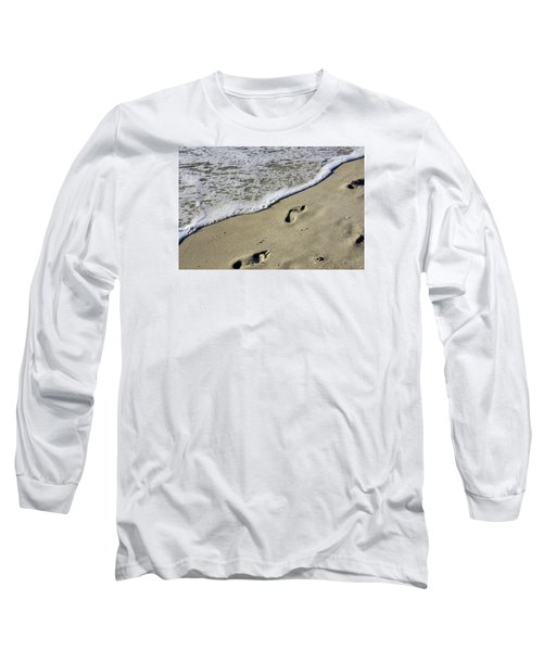Long Sleeve T-Shirt featuring the photograph Footprints On The Beach by Robb Stan