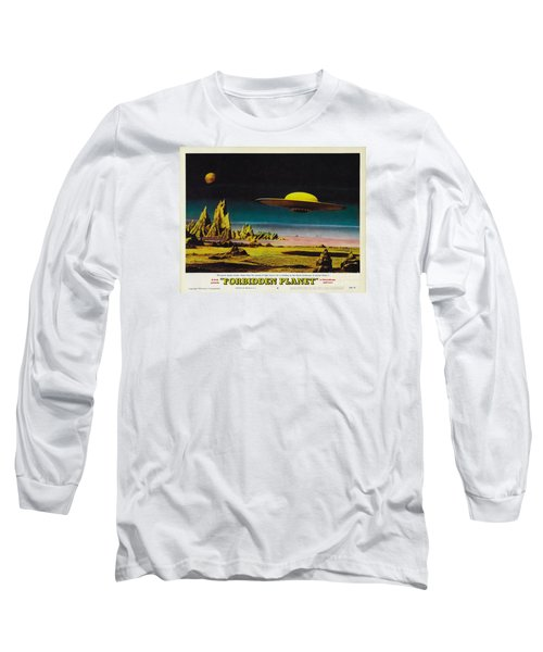 Forbidden Planet In Cinemascope Retro Classic Movie Poster Detailing Flying Saucer Long Sleeve T-Shirt