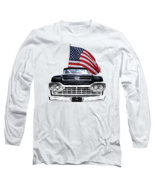 Ford F100 With U.s.flag On Black Long Sleeve T-Shirt