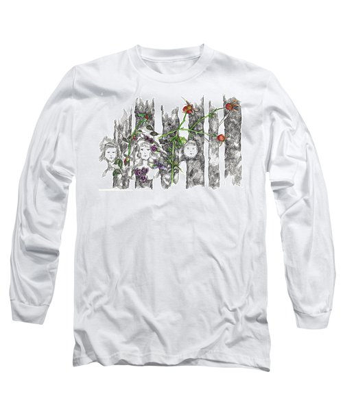 Long Sleeve T-Shirt featuring the drawing Forest Faces by Cathie Richardson