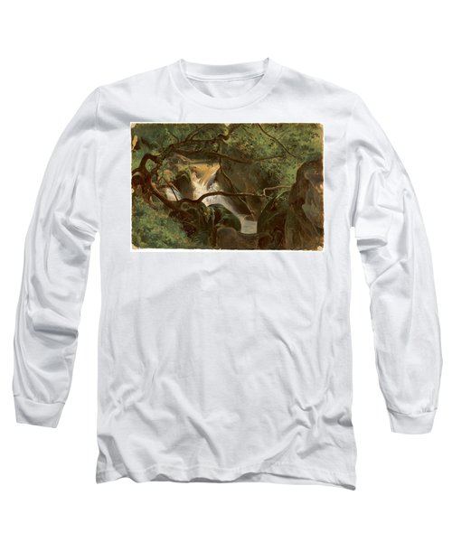 Forest Interior With A Waterfall Papigno Long Sleeve T-Shirt