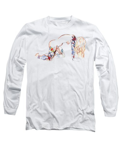 Long Sleeve T-Shirt featuring the mixed media Forever Amber - Tattoed Nude by Carolyn Weltman