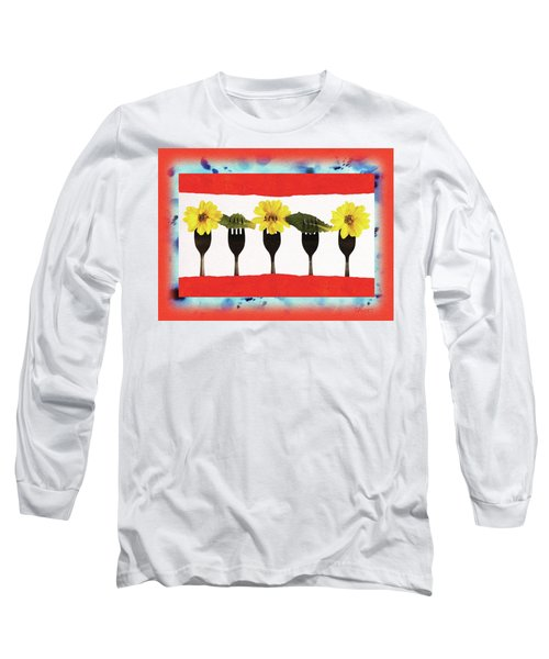 Long Sleeve T-Shirt featuring the digital art Forks And Flowers by Paula Ayers
