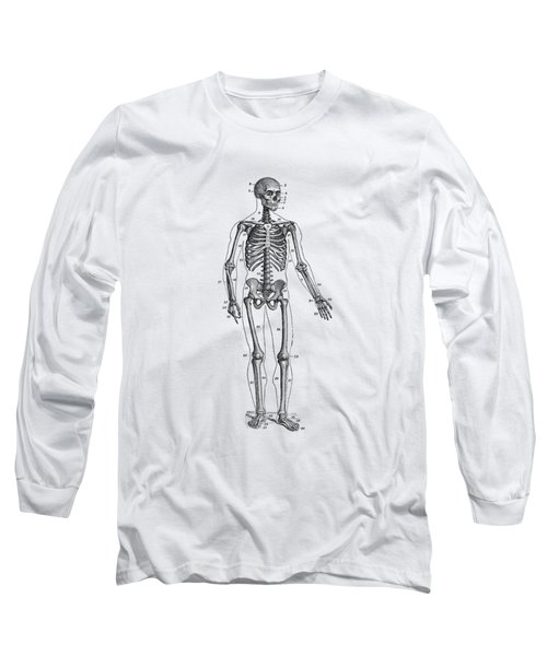 Forward Facing Skeletal Diagram - Vintage Anatomy Poster Long Sleeve T-Shirt