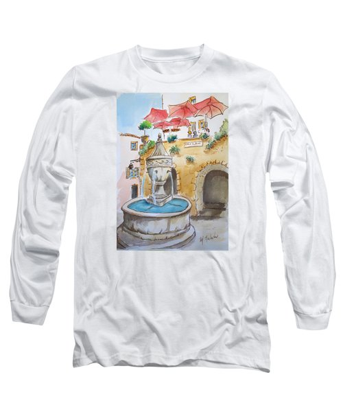 Fountain At St Paul De Vence Long Sleeve T-Shirt by Marilyn Zalatan