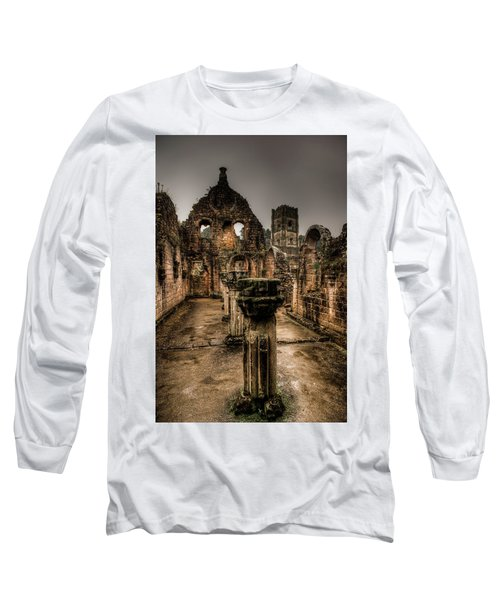 Fountains Abbey In Pouring Rain Long Sleeve T-Shirt
