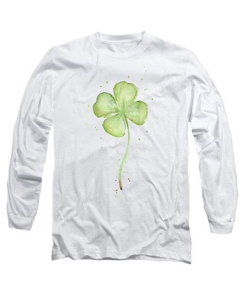 Four Leaf Clover Lucky Charm Long Sleeve T-Shirt by Olga Shvartsur