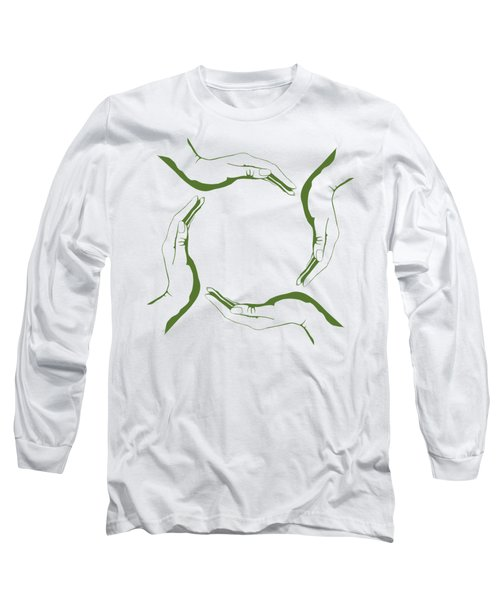 Four People Hands Making Circle Conceptual Round Green Eco Symbo Long Sleeve T-Shirt