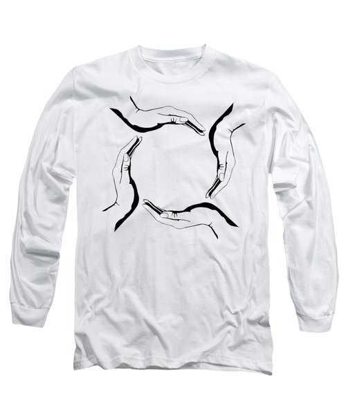 Four People Hands Making Circle Conceptual Round Symbol Background Art Print Long Sleeve T-Shirt