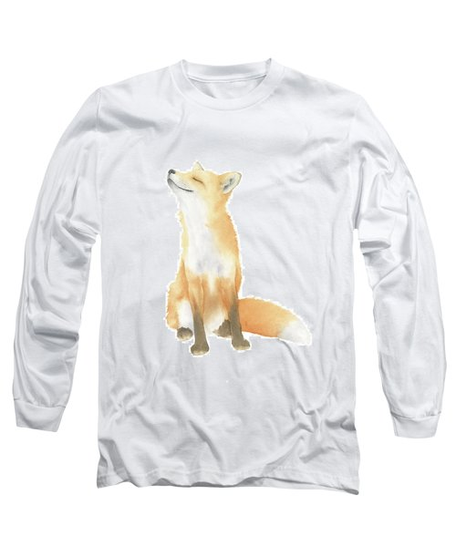Long Sleeve T-Shirt featuring the painting Fox Watercolor by Taylan Apukovska