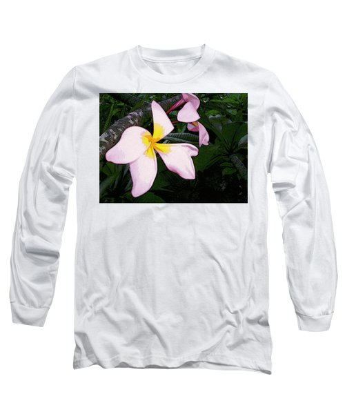 Long Sleeve T-Shirt featuring the digital art Frangipani Moment by Winsome Gunning