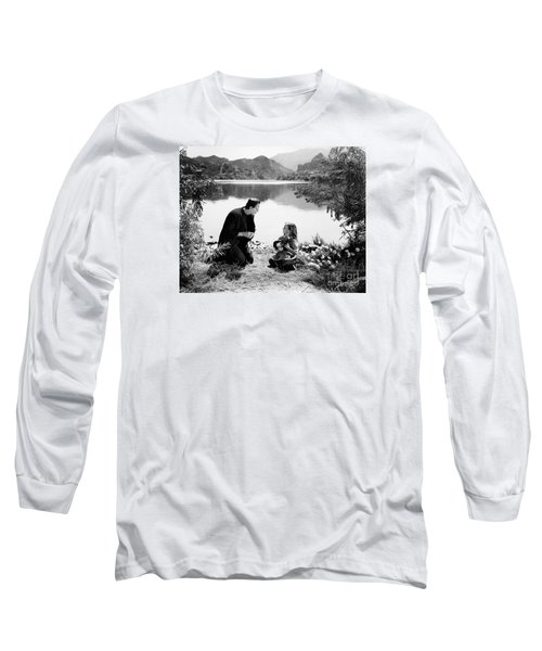 Frankenstein By The Lake With Little Girl Boris Karoff Long Sleeve T-Shirt by R Muirhead Art