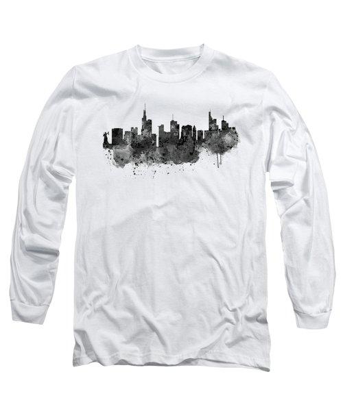 Frankfurt Black And White Skyline Long Sleeve T-Shirt by Marian Voicu