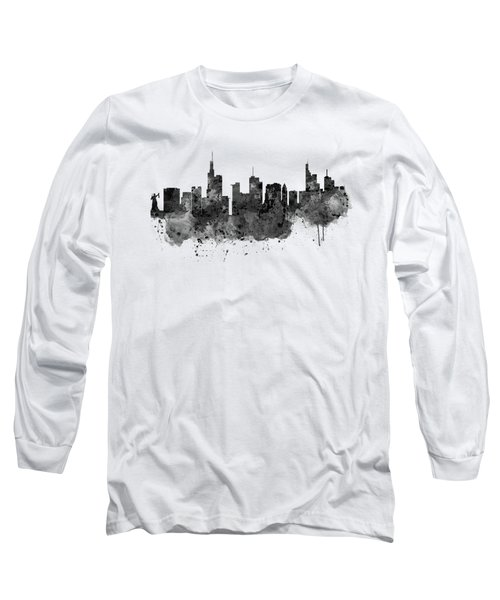 Frankfurt Black And White Skyline Long Sleeve T-Shirt