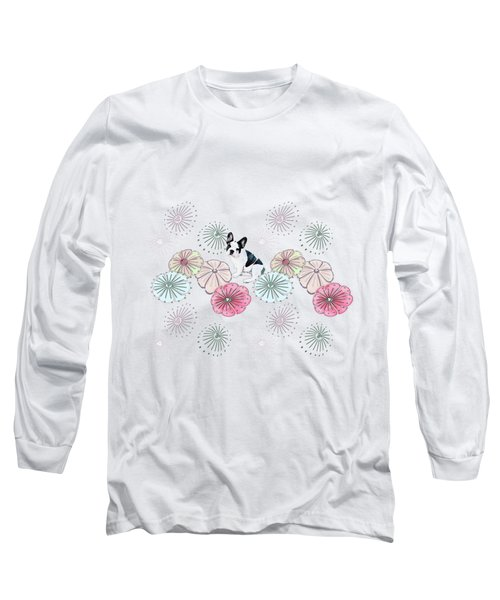 French Bulldog And Flowers Long Sleeve T-Shirt