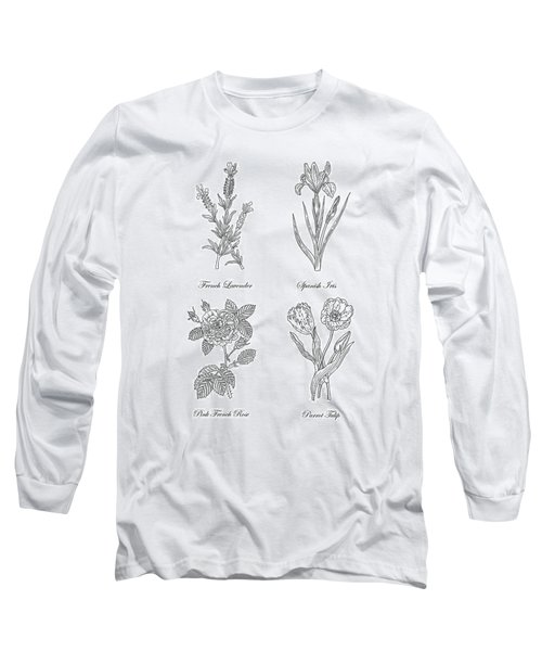 French Lavender Spanish Iris Pink Rose Parrot Tulip Drawing Long Sleeve T-Shirt