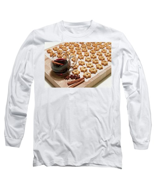 Freshly Baked Cheese Cookies And Hot Wine Long Sleeve T-Shirt by GoodMood Art