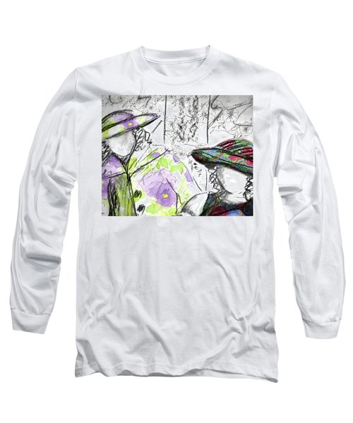 Long Sleeve T-Shirt featuring the painting Friends And Flowers by Cathie Richardson