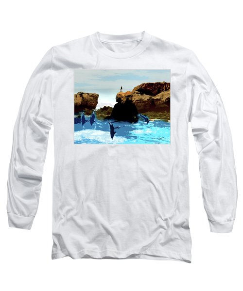 Friends With Dolphins In Colour Long Sleeve T-Shirt
