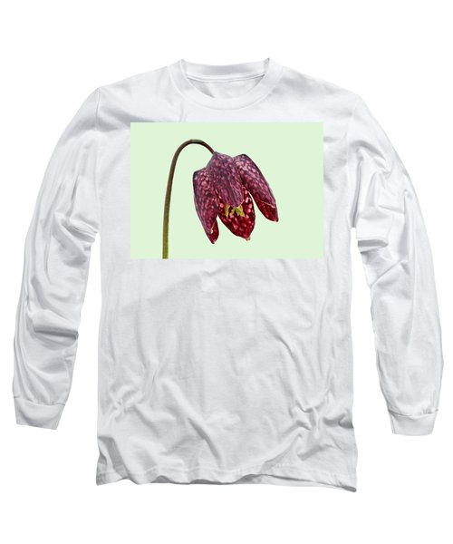 Fritillaria Meleagris Green Background Long Sleeve T-Shirt by Paul Gulliver