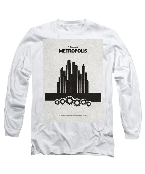 Long Sleeve T-Shirt featuring the painting Fritz Lang's Metropolis Alternative Minimalist Movie Poster by Inspirowl Design