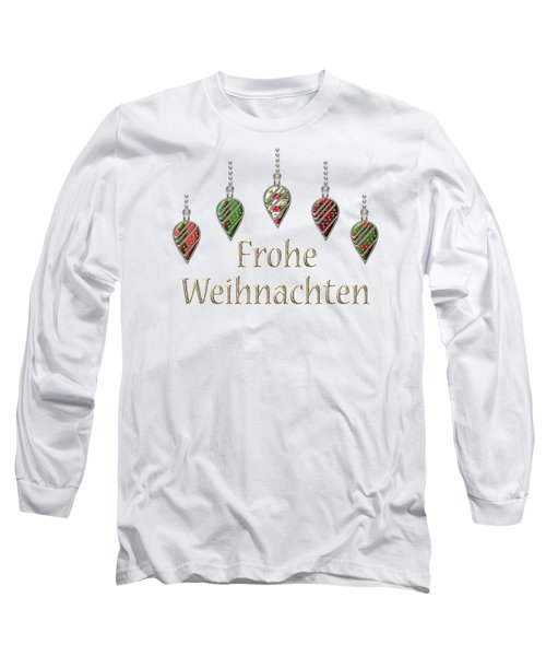 Frohe Weihnachten German Merry Christmas Long Sleeve T-Shirt by Movie Poster Prints