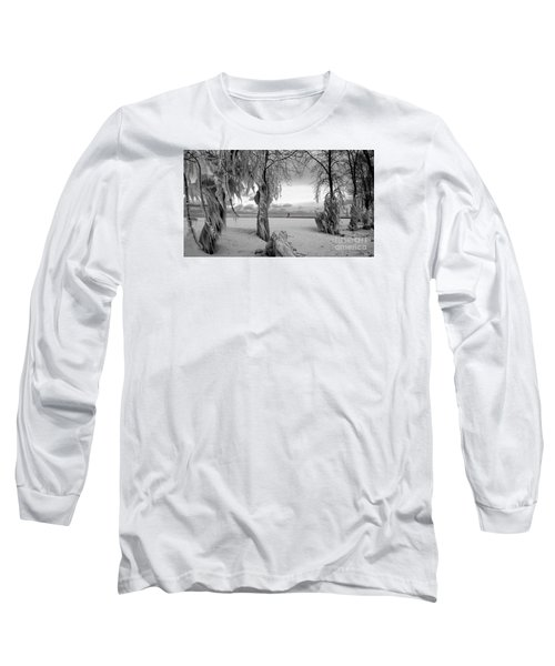 Long Sleeve T-Shirt featuring the photograph Frozen Landscape Of The Menominee North Pier Lighthouse by Mark J Seefeldt