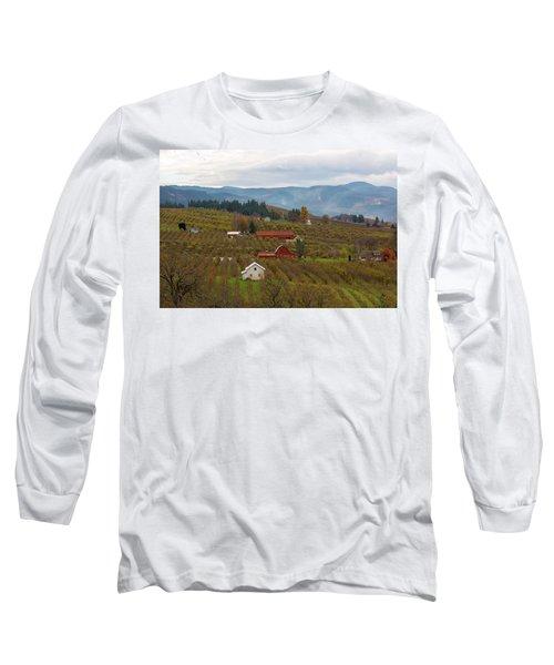 Fruit Orchard Farmland In Hood River Oregon Long Sleeve T-Shirt