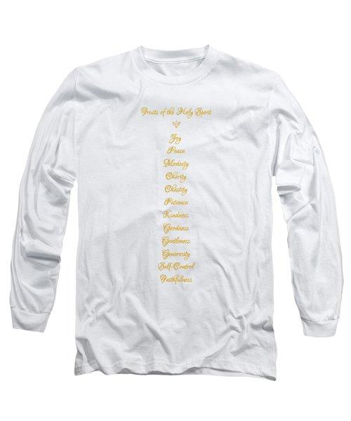Fruits Of The Holy Spirit In A 3d Look Golden Script Long Sleeve T-Shirt