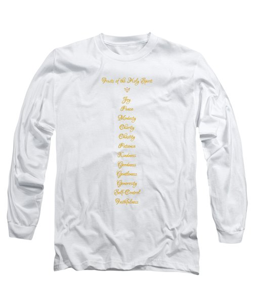 Long Sleeve T-Shirt featuring the digital art Fruits Of The Holy Spirit In A 3d Look Golden Script by Rose Santuci-Sofranko